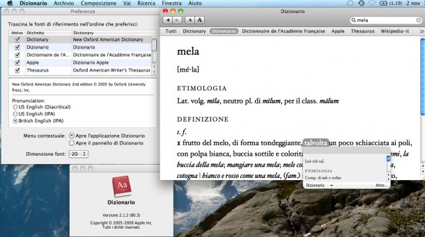 Dizionario, preferenze e pop-up da combinazione.